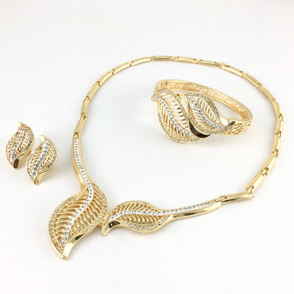 Leaf Shape Gold Plated Necklace Set with Clear Stones | Fashion Jewellery Outlet