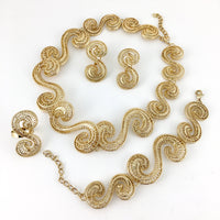 Designer Filigree Style Gold Plated Necklace Set | Fashion Jewellery Outlet