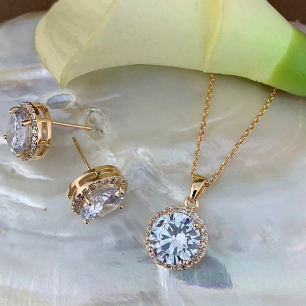 Bridal Cubic Zirconia Set, Big Round Halo Style Gold Bridal Set | Fashion Jewellery Outlet