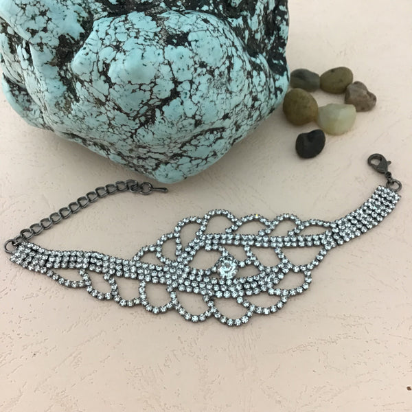 Rhinestone Bracelet, Gunmetal | Fashion Jewellery Outlet