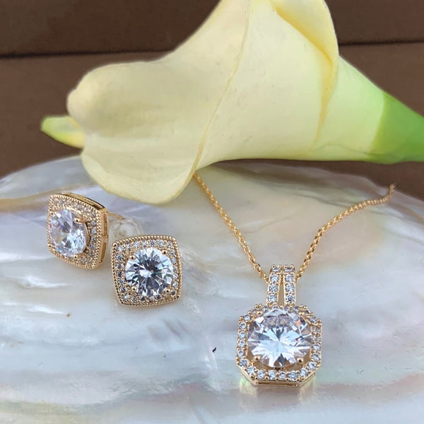 Bridal Cubic Zirconia Set, Square Halo Style Gold Bridal Set | Fashion Jewellery Outlet