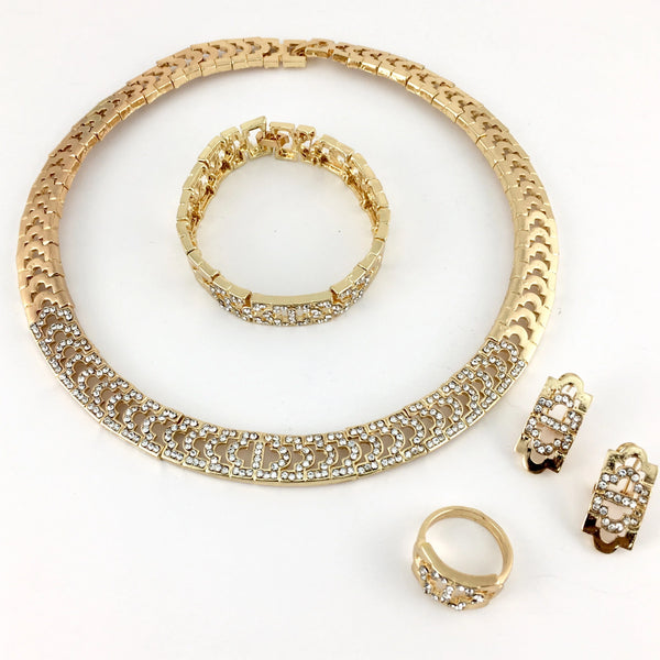 Gold Tone Clear Stone Necklace Set | Fashion Jewellery Outlet