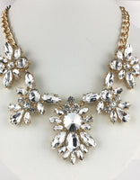 Elegant Floral Flower Crystal Necklace, Gold with Clear Stones | Fashion Jewellery Outlet