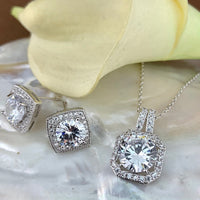 Bridal Cubic Zirconia Set, Square Halo Style Silver Bridal Set | Fashion Jewellery Outlet