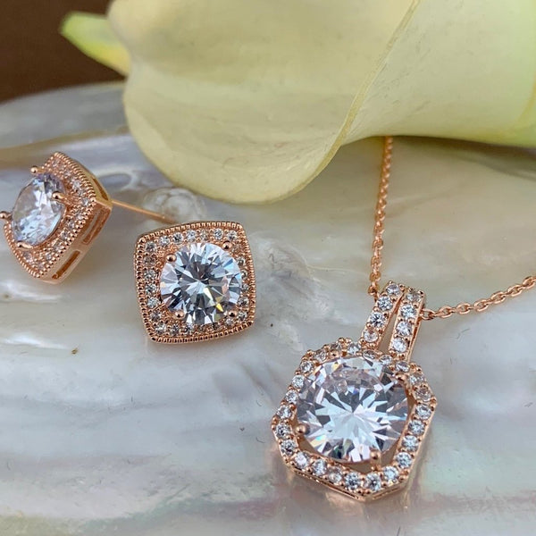 Bridal Cubic Zirconia Set, Square Halo Style Rose Gold Bridal Set | Fashion Jewellery Outlet