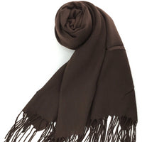 Pashmina Scarf with Fringe, Chocolate Brown | Fashion Jewellery Outlet