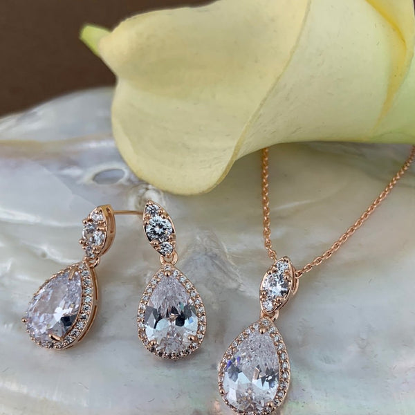 Bridal Cubic Zirconia Set, Teardrop Rose Gold Bridal Set | Fashion Jewellery Outlet