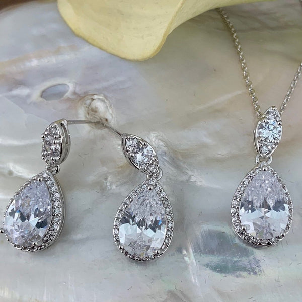 Bridal Cubic Zirconia Set, Teardrop Silver Bridal Set | Fashion Jewellery Outlet