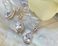 Bridal Cubic Zirconia Set, Teardrop Gold Bridal Set | Fashion Jewellery Outlet