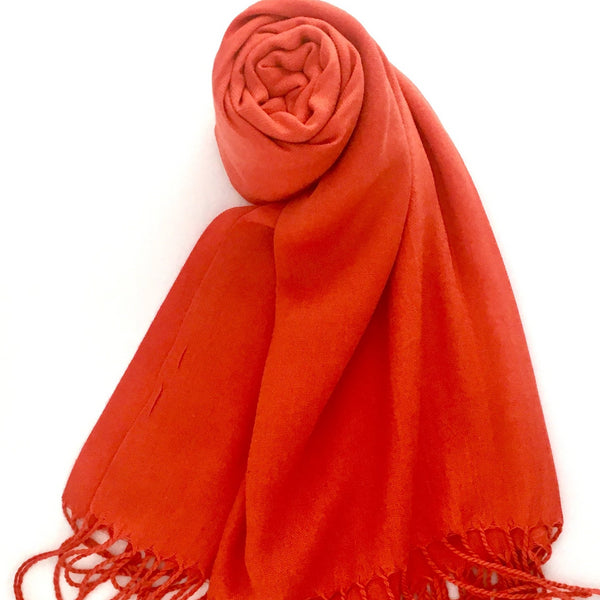Pashmina Scarf with Fringe, Orange | Fashion Jewellery Outlet