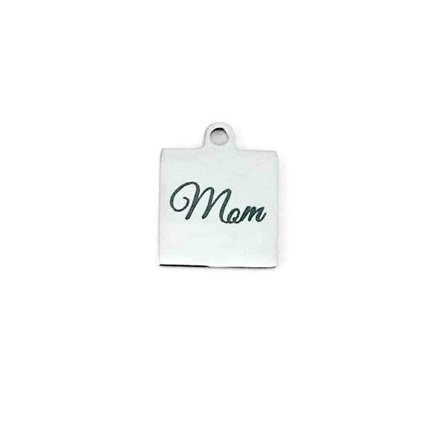Mom Square Engraved Charm | Fashion Jewellery Outlet