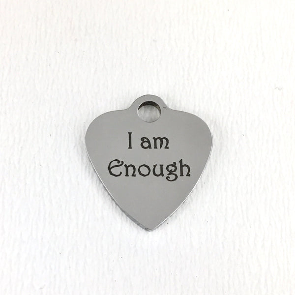 I am Enough Engraved Heart Charm | Fashion Jewellery Outlet