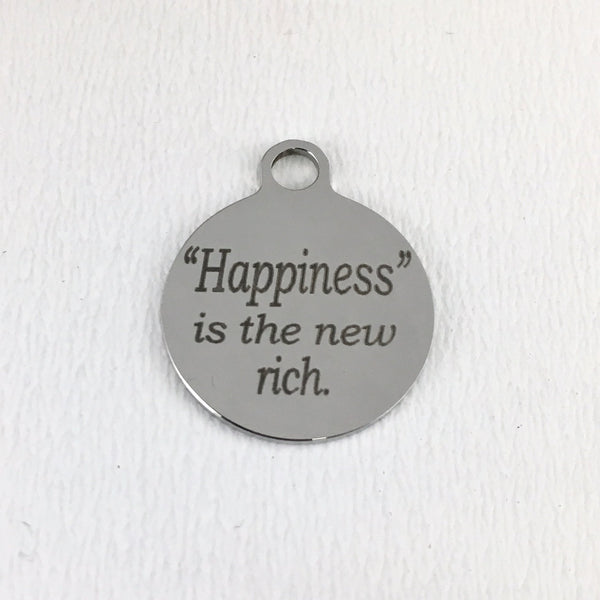 Happiness is the new wealth round Charm | Fashion Jewellery Outlet