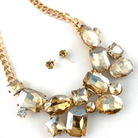 Elegant Crystal Necklace with Big Stones, Gold Stones | Fashion Jewellery Outlet