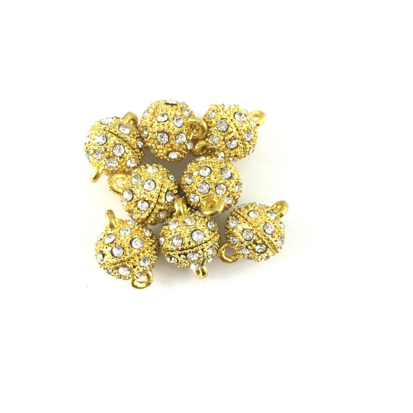 16mm CZ Magnetic Jewelry Locks 2 Sets, Gold | Fashion Jewellery Outlet