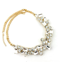 Elegant Mixed Shape Crystal Necklace, Gold with Clear Stones | Fashion Jewellery Outlet