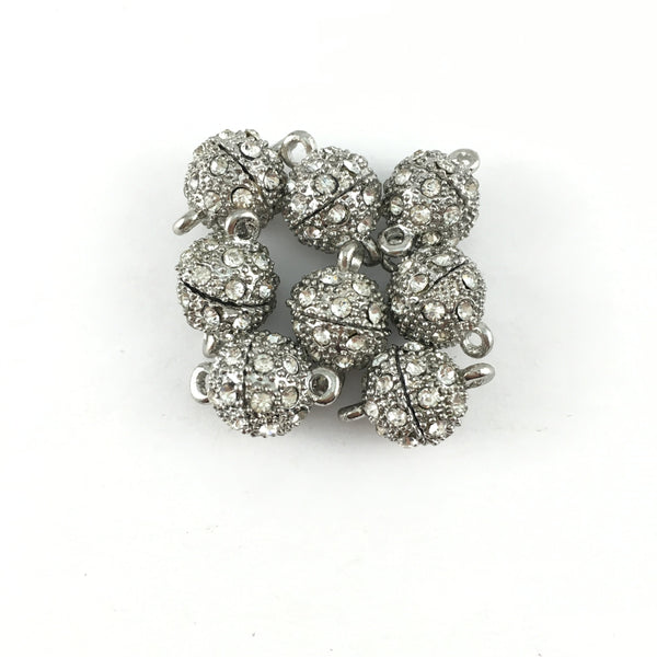 12mm CZ Magnetic Jewelry Lock 2, Rhodium | Fashion Jewellery Outlet