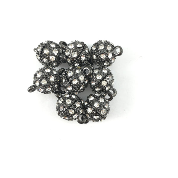 8mm CZ Magnet Lock 2 Sets, Gunmetal | Fashion Jewellery Outlet