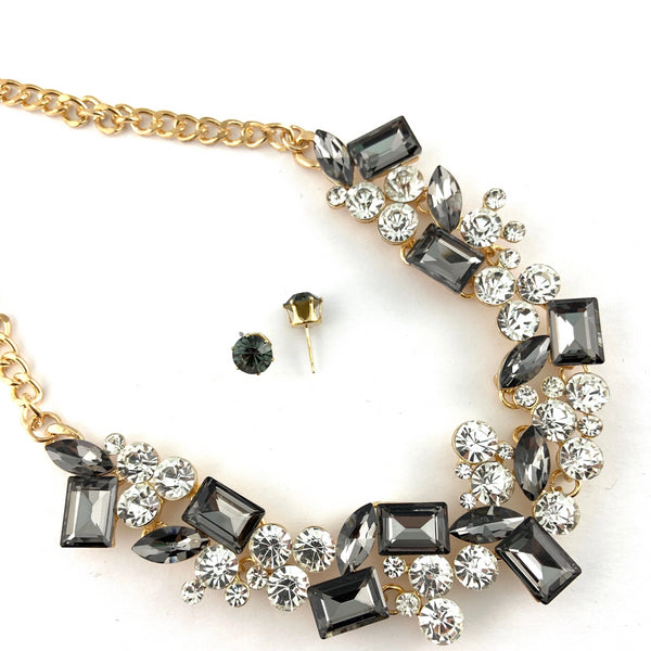 Elegant Crystal Necklace, Silver Night Stones | Fashion Jewellery Outlet