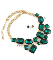 Elegant Crystal Necklace with Big Stones, Emerald Green | Fashion Jewellery Outlet