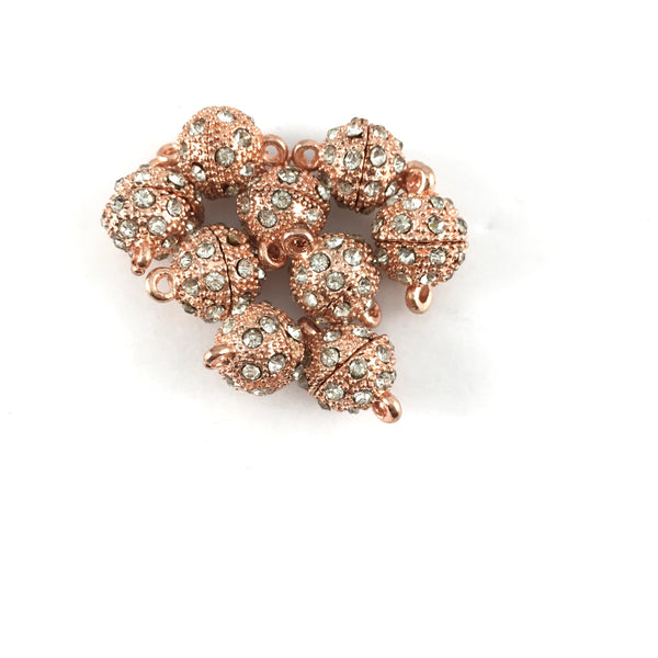 12mm CZ Magnet Lock 2 Sets, Rose Gold | Fashion Jewellery Outlet