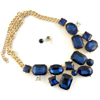 Elegant Crystal Necklace with Big Stones, Blue | Fashion Jewellery Outlet