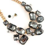 Elegant Crystal Necklace with Big Stones, Silver Night Stone | Fashion Jewellery Outlet
