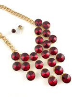 Elegant Crystal Necklace, Burgundy | Fashion Jewellery Outlet