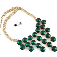 Elegant Crystal Necklace Green Stones | Fashion Jewellery Outlet