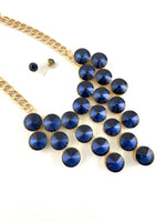 Elegant Crystal Necklace, Navy Blue Stones | Fashion Jewellery Outlet