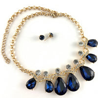 Elegant Teardrop Crystal Necklace, Navy Blue | Fashion Jewellery Outlet