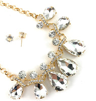 Elegant Teardrop Crystal Necklace, Clear Stones | Fashion Jewellery Outlet