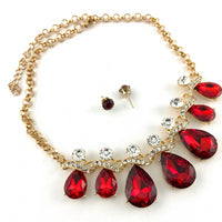 Elegant Teardrop Crystal Necklace, Burgundy Stone | Fashion Jewellery Outlet