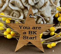 Star Wood Engraved Tags, You are a BK Star! | Fashion Jewellery Outlet