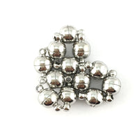 Small Size Magnetic Lock Set of 6, Rhodium | Fashion Jewellery Outlet