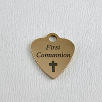 First Communion Engraved Charm, Gold | Fashion Jewellery Outlet