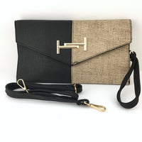 Tan and Black Clutch | Fashion Jewellery Outlet