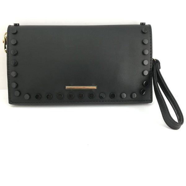 Black Clutch with Black Button | Fashion Jewellery Outlet