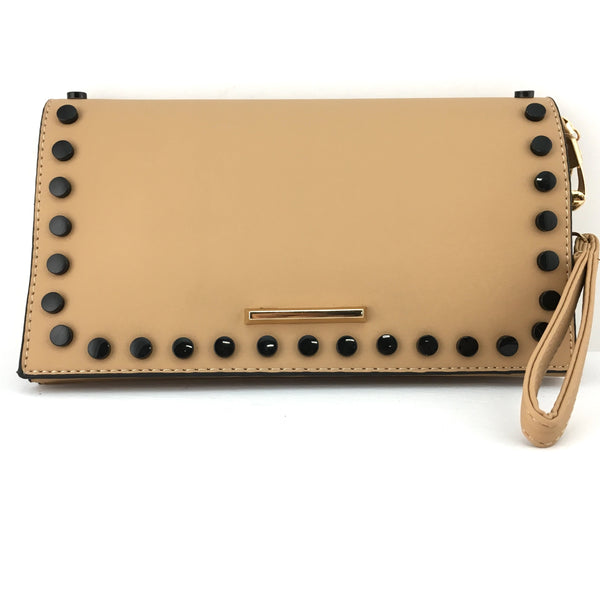 Beige Clutch with Black Button | Fashion Jewellery Outlet