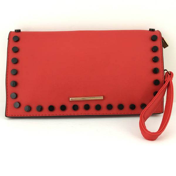 Red Clutch with Black Button | Fashion Jewellery Outlet