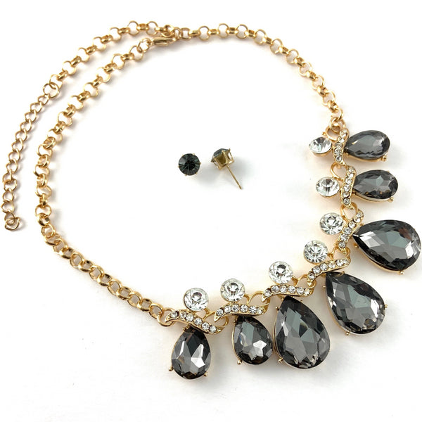 Elegant Teardrop Crystal Necklace, Silver Night Stone | Fashion Jewellery Outlet