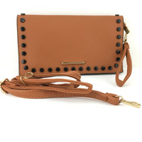 Tan Clutch with Black Button | Fashion Jewellery Outlet