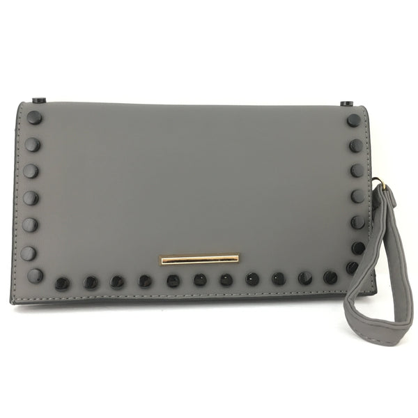 Grey Clutch with Black Button | Fashion Jewellery Outlet