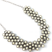 Silver Tone Ivory Stone Necklace | Fashion Jewellery Outlet