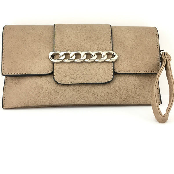 Beige Chain Detail Faux Leather Clutch | Fashion Jewellery Outlet