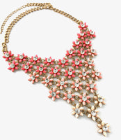 Flower Shape Necklace, Shaded Pink | Fashion Jewellery Outlet