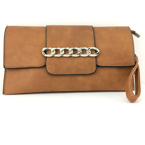 Tan Chain Detail Faux Leather Clutch | Fashion Jewellery Outlet