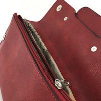 Burgundy Chain Detail Faux Leather Clutch | Fashion Jewellery Outlet