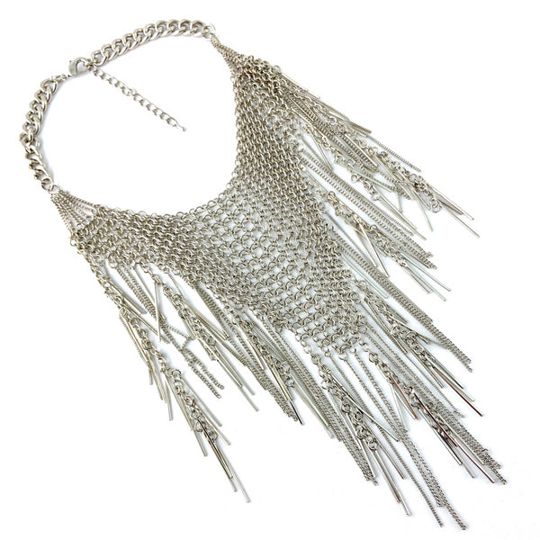 Chainmaille Long Necklace, Silver | Fashion Jewellery Outlet