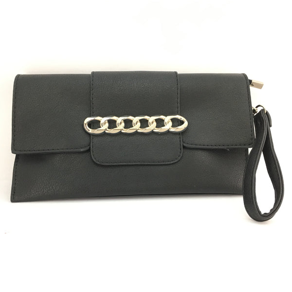 Black Chain Detail Faux Leather Clutch | Fashion Jewellery Outlet